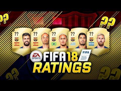 FIFA 18 BARCELONA ALL PLAYERS RATINGS PREDICTION ! FT. MESSI, SUAREZ, NEYMAR !
