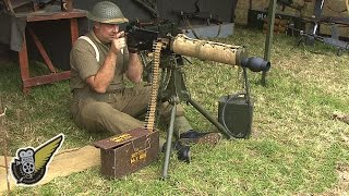 Original WW2 Vickers Machine Gun Being Fired (Gas Powered)
