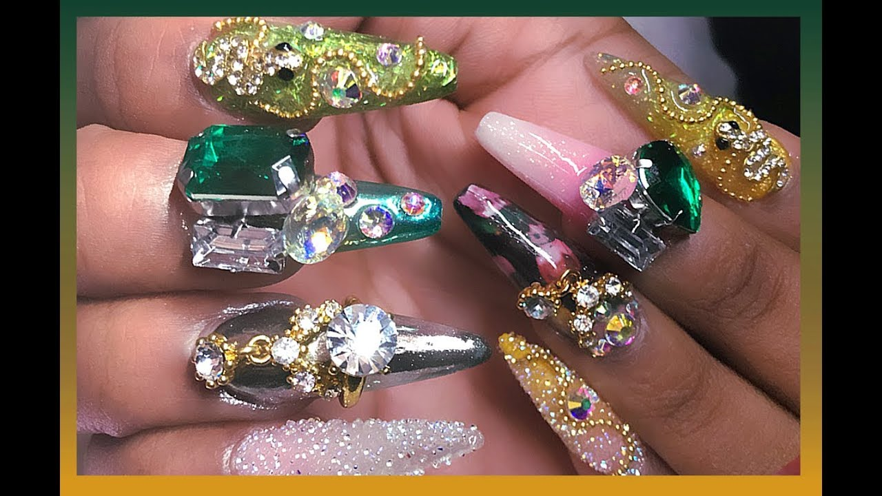 crazy snake bling acrylic nails