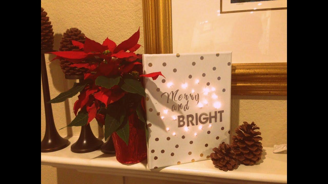 DIY Christmas Decor Craft  Lighted Canvas  YouTube