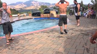 Motorcycles crashing into swimming pool during pool party, stunts gone bad, Jimmy Kimmel fail