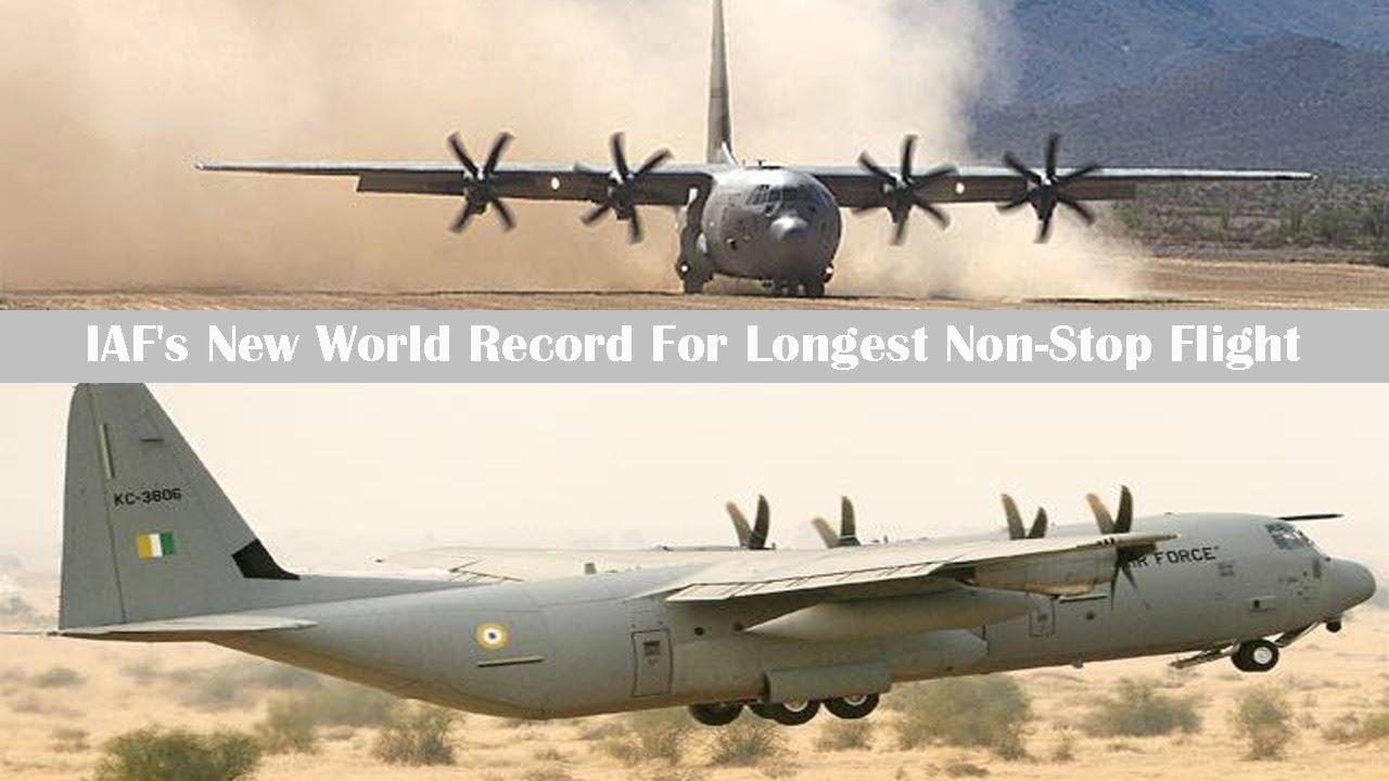 Iaf S C 130j Hercules Sets New World Record For Longest Non Stop Flight Youtube