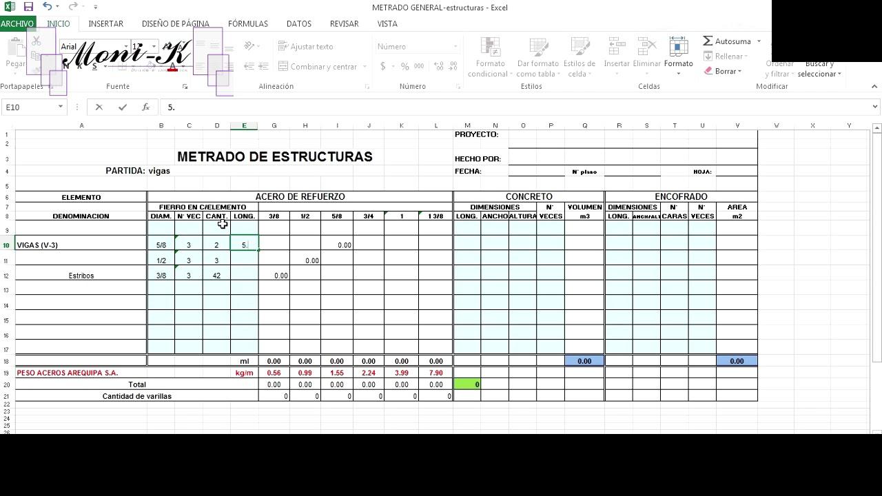 FORMATO EN EXCEL GRATIS METRADO DE ESTRUCTURAS: Zapatas, vigas ...