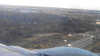 Landing Sukhoi Superjet 100. Aeroflot.Sheremetyevo International Airport