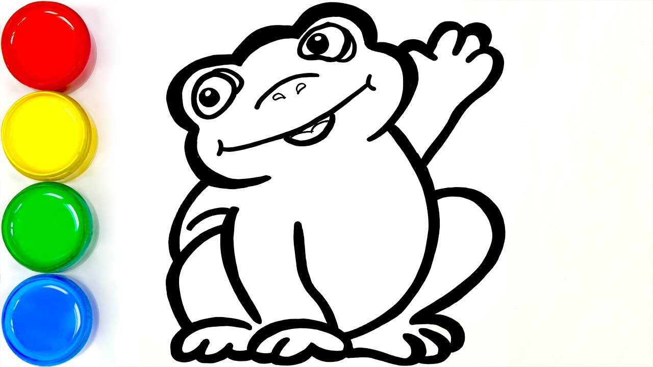 Glitter Frog Coloring and Learn Drawing for Kids, Toddlers ...
