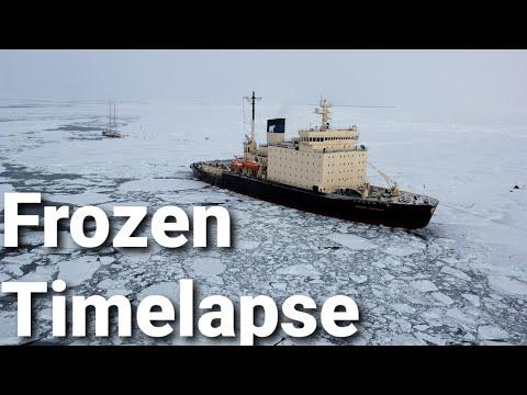 Frozen Timelapse Of Cargo Ship Making Way Through Sweden