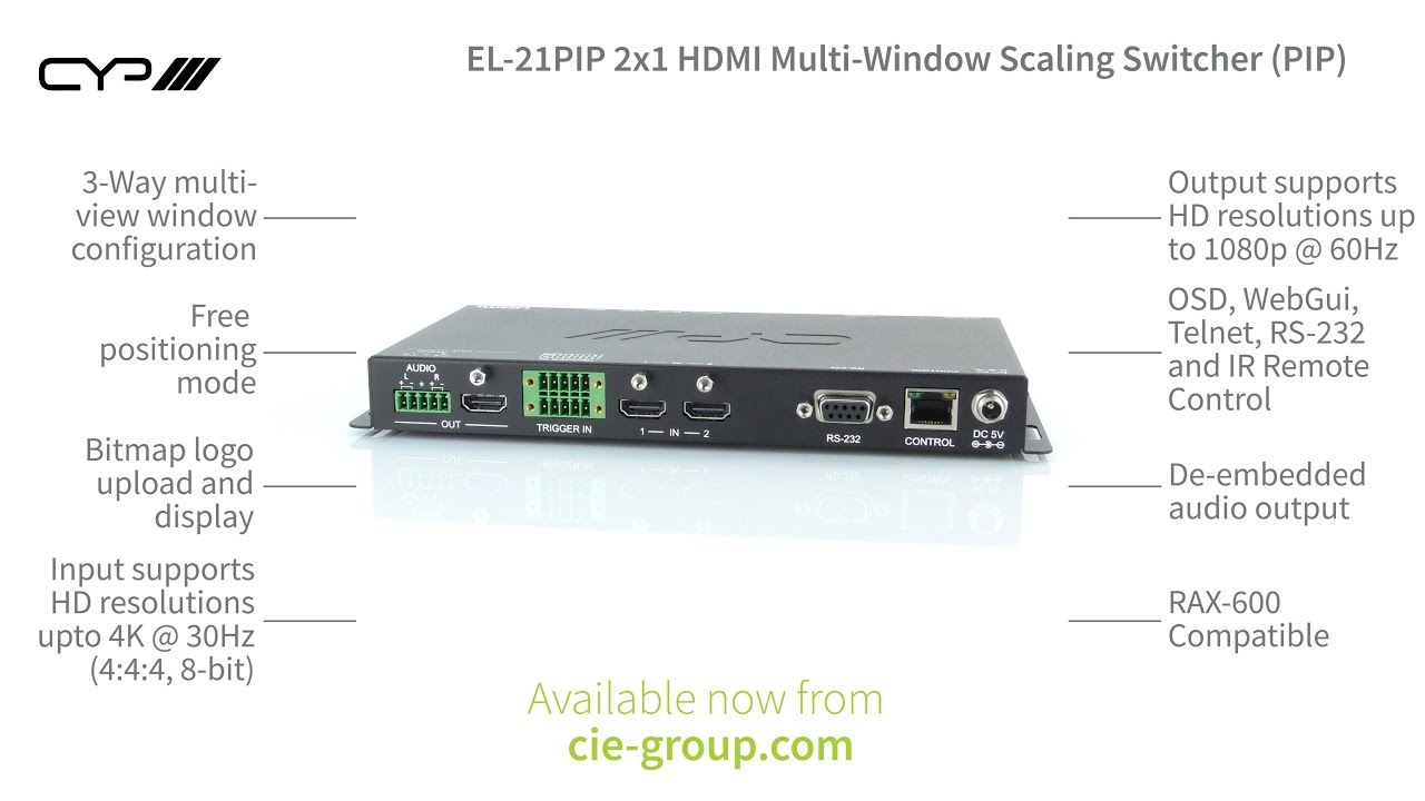 CYP EL-21PIP 2x1 HDMI Multi-Window Scaling Switcher (Picture in Picture)