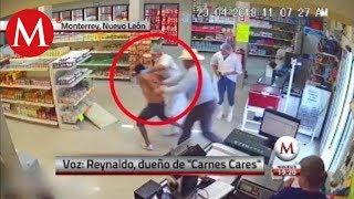 Entrevista a hombre que frustró un asalto en carnicería de Nuevo León