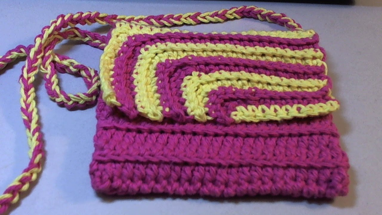 Crosia Flower Designs Bags : Fun and easy 2 color #Crochet Contrasting crochet purse - YouTube