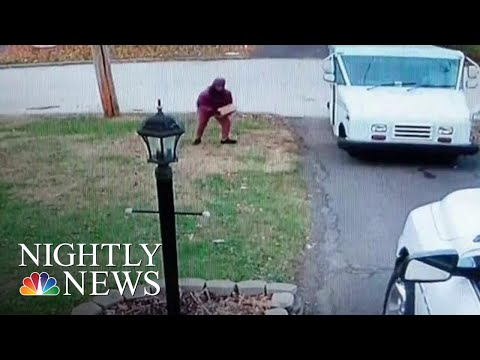 usps-investigating-postal-worker-caught-carelessly-tossing-a-package-|-nbc-nightly-news