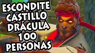JUGANDO AL ESCONDITE en CASTILLO de DRÁCULA *100 PERSONAS* FORTNITE PERSONALIZADAS