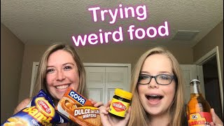 Trying weird food with my sister!