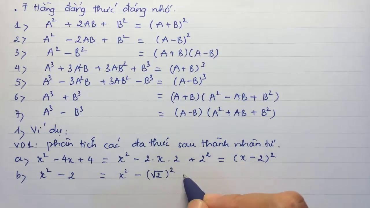 Toán lớp 8 – Bài 7: Phân tích đa thức thành nhân tử bằng phương pháp dùng hằng đẳng thức