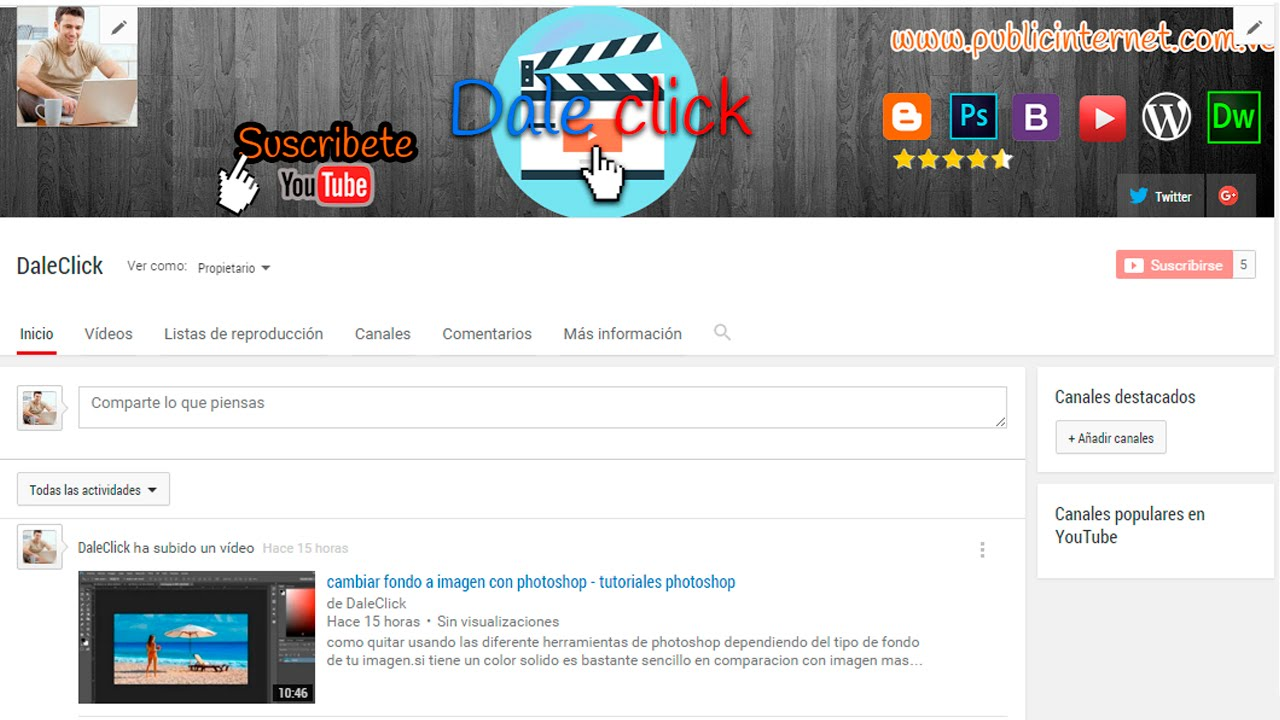 Plantilla para diseñar portada para youtube [Medidas exactas] - YouTube