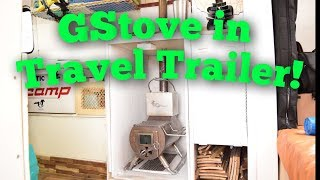 GStove in Scamp Trailer (FULL REVIEW) Small Winter Camping Woodstove!