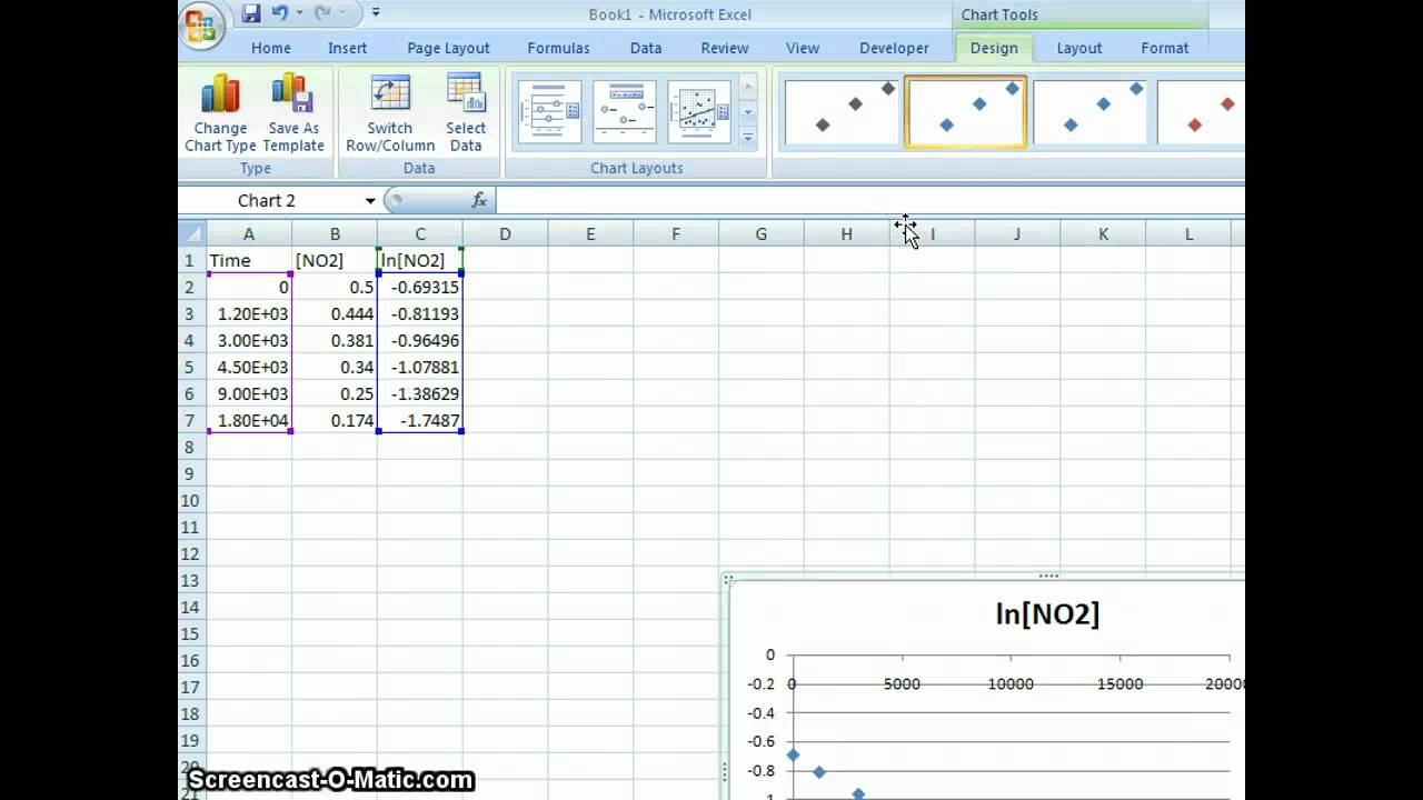 excel 2007 - integrated rate law