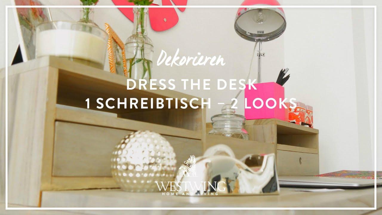 Schreibtisch im girly look dekorieren westwing style for Schreibtisch dekorieren youtube