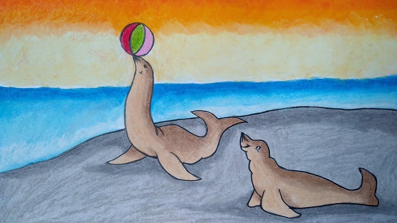 Menggambar Anjing Laut Cara Menggambar Dan Mewarnai Untuk