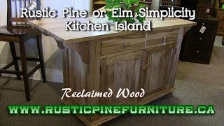 Rustic Pine Simplicity Kitchen Island from reclaimed pine, Mennonite Furniture Richmond Hill