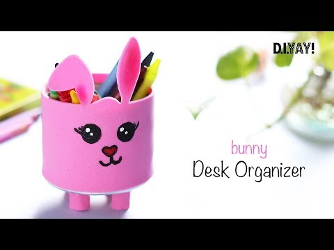 DIY Desk Organizer Cardboard | Bunny Desk Decor | Back to School