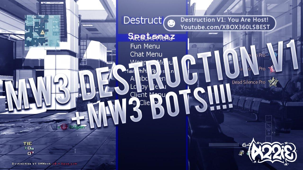 MW3 | Destruction V1 | MW3 BOTS! | AMAZING AW, BO1, MW2 & MW3 Mod Menu by  XBOX360ISBEST by Azzible