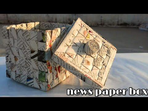 how to make news paper basket , how to make news paper box ; how to reuse news paper