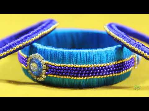 Stylish stoned with silk thread bangles with hairclips set designs for girls fashion week 2017