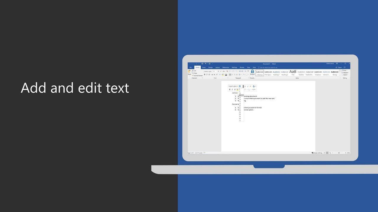 Add and edit text in Microsoft Word