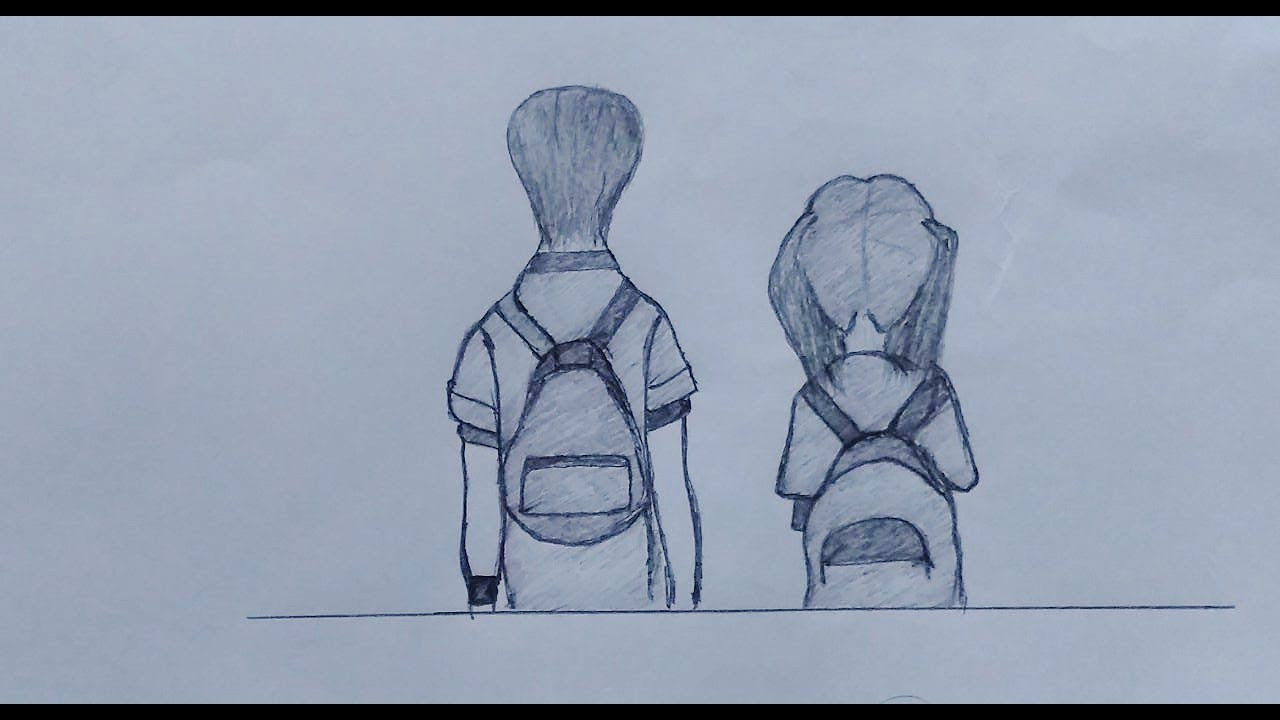Drawing broken heart boy and girl anime world