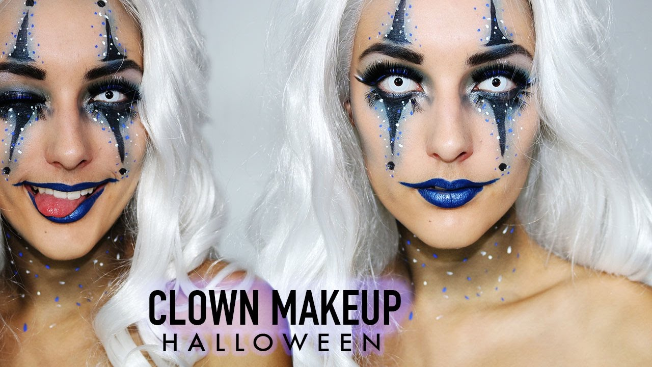 blue sexy clown halloween makeup by indy youtube. Black Bedroom Furniture Sets. Home Design Ideas