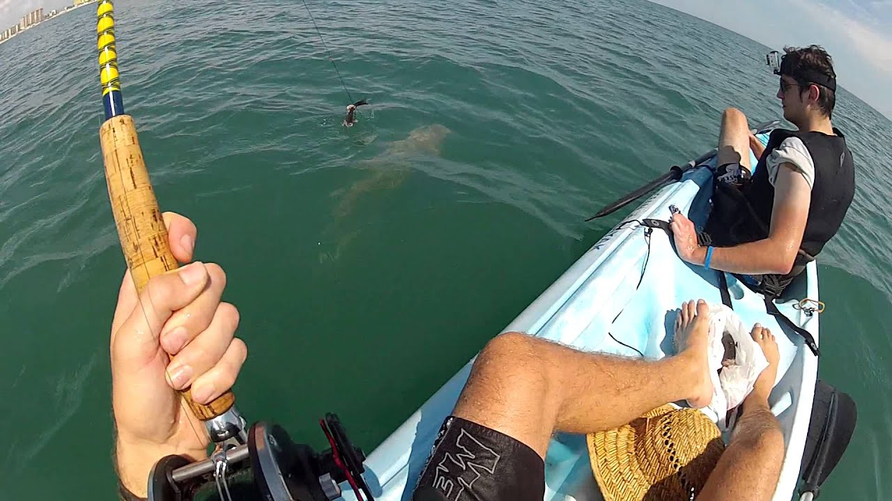 Daytona beach shark fishing from kayaks gopro youtube for Shark fishing gear for beach
