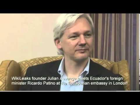 Julian Assange meeting Ecuador's foreign minister Ricardo Patino