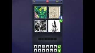 4 Bilder 1 Wort [Zeichnung, Briefmarke, Gewichtheber, Käfer]