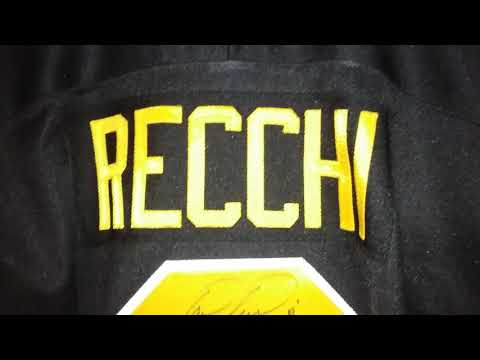 Mark Recchi # 8 Pittsburgh Penguins 1989-90 away authentic retail CCM hockey jersey autographed