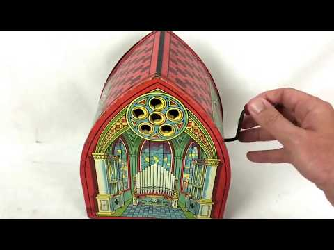 Vintage J. Chein Organ Tin Toy Wind-Up Music Box Lithograph Antique Old Rare