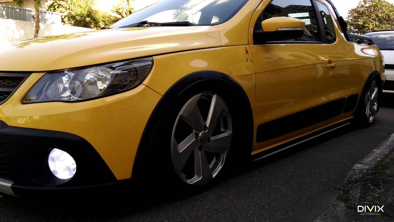 Saveiro Cross Amarela + Som Automotivo + Suspensão a Ar ...