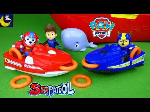 Paw Patrol Sea Patrol Chase & Marshall's Rescue Jet Skis Sea Patroller Boat Adventure Bay Beach Toys
