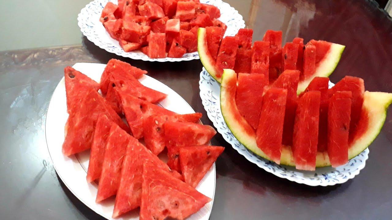 تقطيع البطيخ وتقديمه ب ٣ طرق مختلفه سهله وبسيطه جدااا