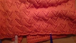 МК вязание простой оранжевой летней кофточки ( с цельновязаными рукавами)