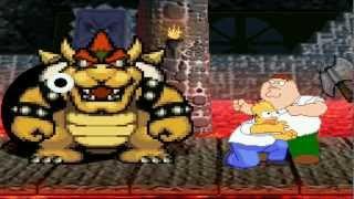 Bowser & Chomper vs Homer Simpson & Peter Griffin MUGEN Battle!!!