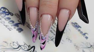 Дизайн ногтей  Длинные ногти. Форма ногтей современный миндаль. дизайн ногтей для новичков