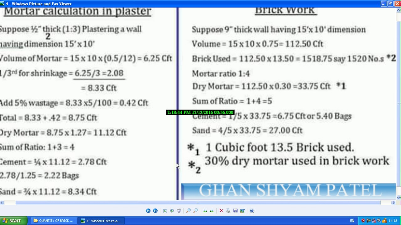 Bricks quantity calculation for walls youtube.