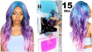 WATERCOLOR UNICORN HAIR   15 Minute Hair Color   Foolproof Ombre Hair ft Facebeauty Hair