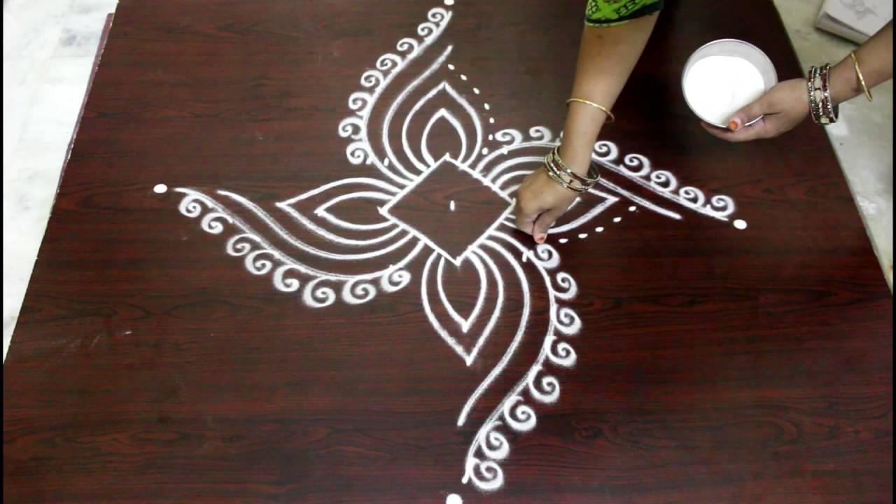 Easy Rangoli Designs With Dots Muggulu Designs With Dots Kolam Designs With Dots Youtube