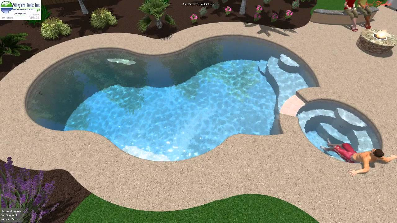 Vineyard Pools 3D design - Freeform pool and spa - Fresno - YouTube