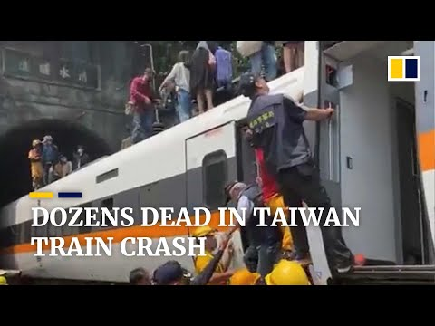At least 48 feared dead after express train derails in Taiwan