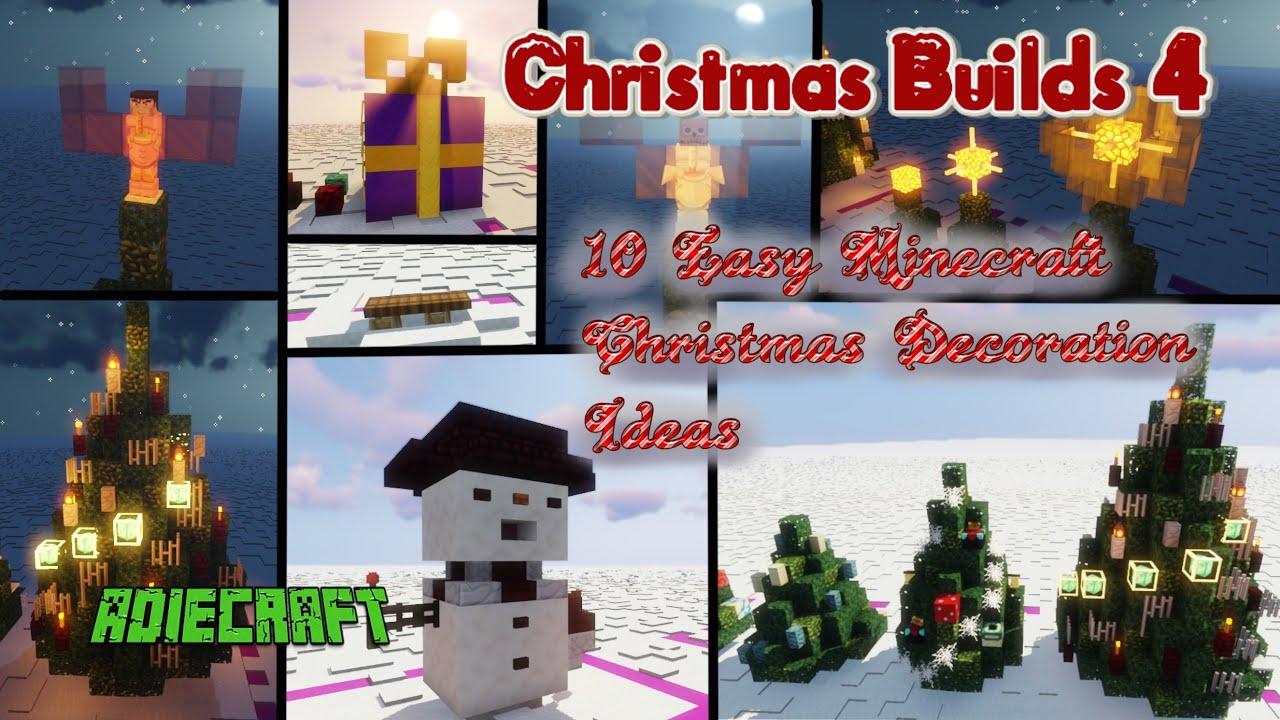 10 Easy Minecraft Christmas Decoration Ideas 1 14 10 Festive Christmas Build Hacks Survival Youtube