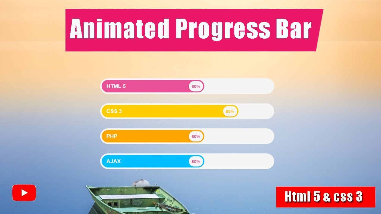 Animated Progress bar in Html 5 and css 3 - very easy