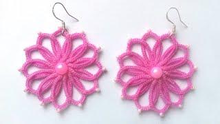 Серьги цветочки фриволите иглой МК для начинающих. DIY Earrings flowers frivolite needle.