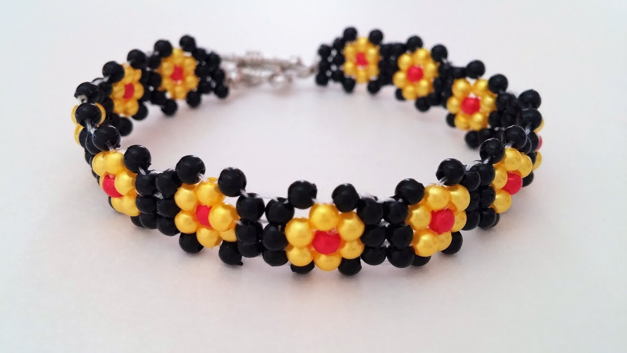 make simple beaded flower bracelet bracelet design idea